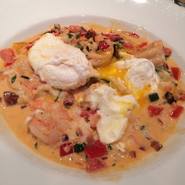 Shrimp And Grits And 2 Poached Eggs With Chipotle Hollandaise Sauce - Red Drum Restaurant and Bar, Mount Pleasant, SC