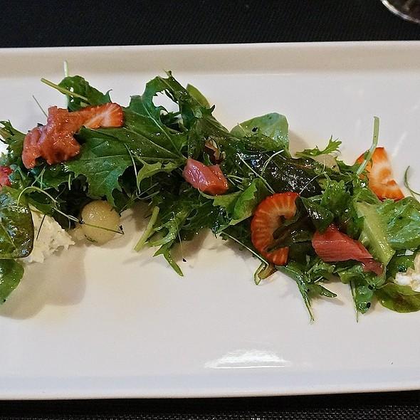 'Urban Till' spring salad, poached pear, vanilla-chili vinaigrette, goat cheese, pickled rhubarb, strawberries - CDA, Chicago, IL