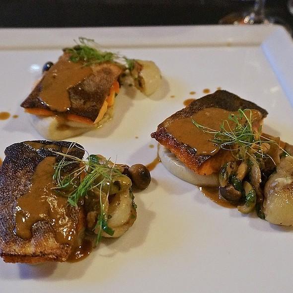 Seared Arctic char, artichoke, olive dulce de leche, cippolini onions, beech mushrooms - CDA, Chicago, IL
