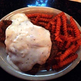 Chicken Fried Steak And Sweet Potato Fries - Triple J Chophouse and Brew Co, Lubbock, TX