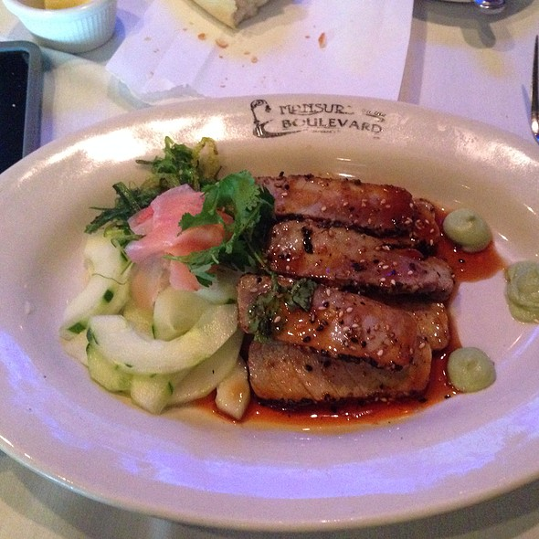 Seared Ahi Tuna In Sesame Seeds With Mizuna & Cucumber Salad In Meyer Lemon Dressing - Mansurs On the Boulevard, Baton Rouge, LA