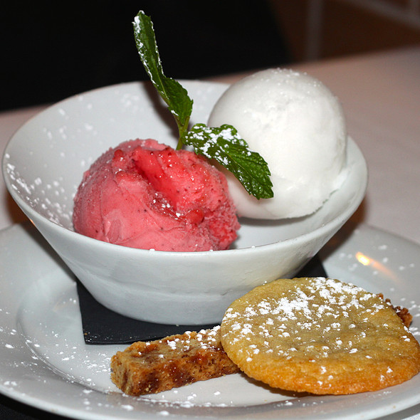 Raspberry Sorbet And Lemon Sorbet - Eddie V's – Wildfish – Newport Beach, Newport Beach, CA