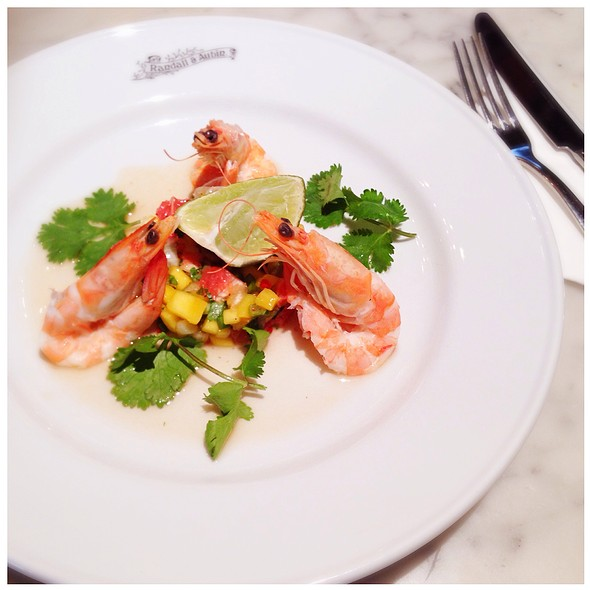 King Prawns Served With Mango & Spring Onion Salad - Randall & Aubin, London