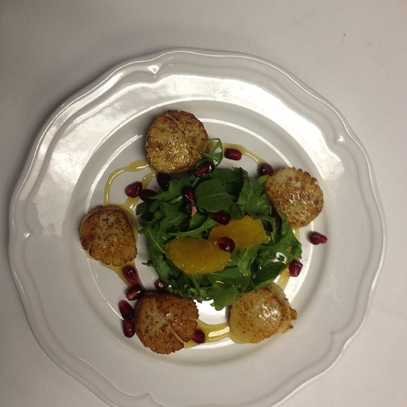 Pan Seared Scallops With A Clementine Gastric And Pomegrante - Washington St. Bistro, Morristown, NJ