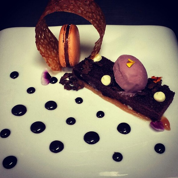 Chocolate Cake, Peach Macaroon - Vista prime steaks & seafood, Snoqualmie, WA