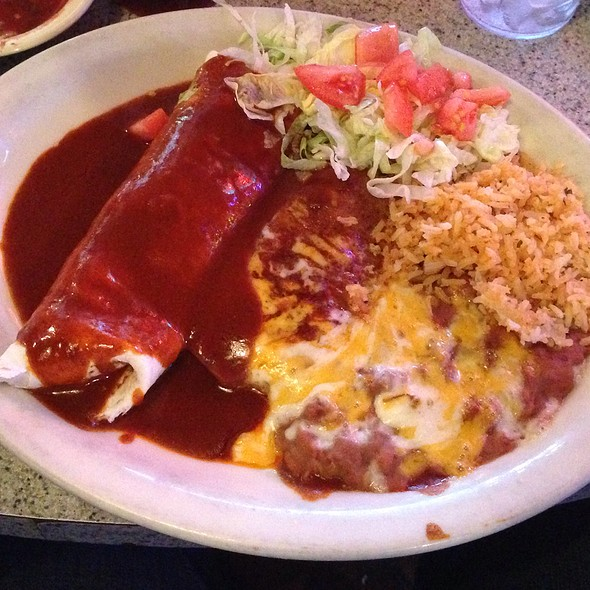 Shredded Beed Enchilada, Shredded Beef Burrito With Rice And Beans - The Blue Bonnet Restaurant, Denver, CO