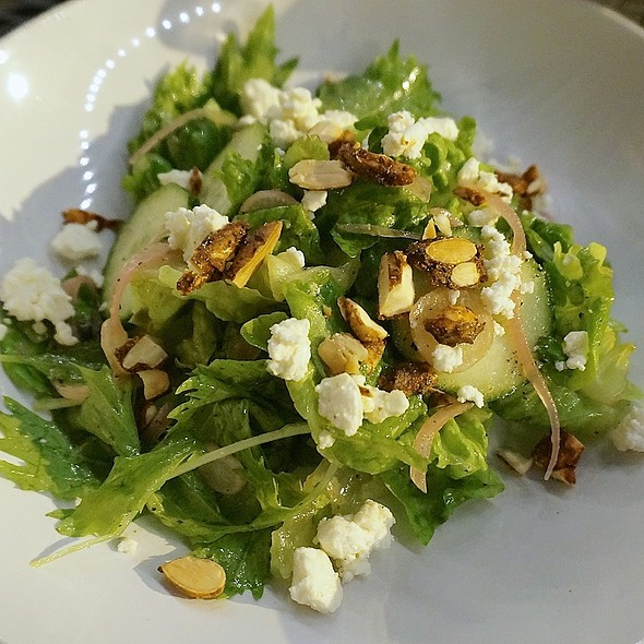 Mixed green salad, almonds, radish, cucumber, feta, roasted shallot vinaigrette - Bread & Wine, Chicago, IL