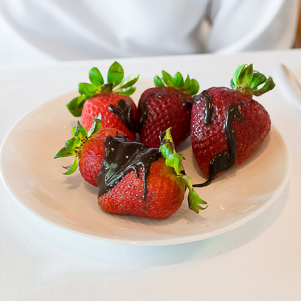 Fresh Strawberries & Chocolate Sauce - Orchids at Halekulani, Honolulu, HI