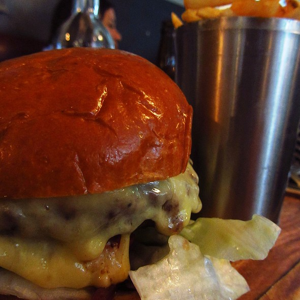 Rare Breed Burger, Brioche Bun, Cheddar, Fries, Onion Relish - The Mitre, London