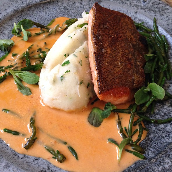 Scottish Sea Trout, Dorset Crab Mash, Samphire - Mews of Mayfair, London