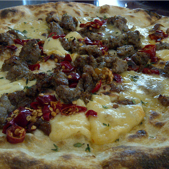 caramelized onion, sausage and hot pepper - Varasano's Pizzeria, Atlanta, GA
