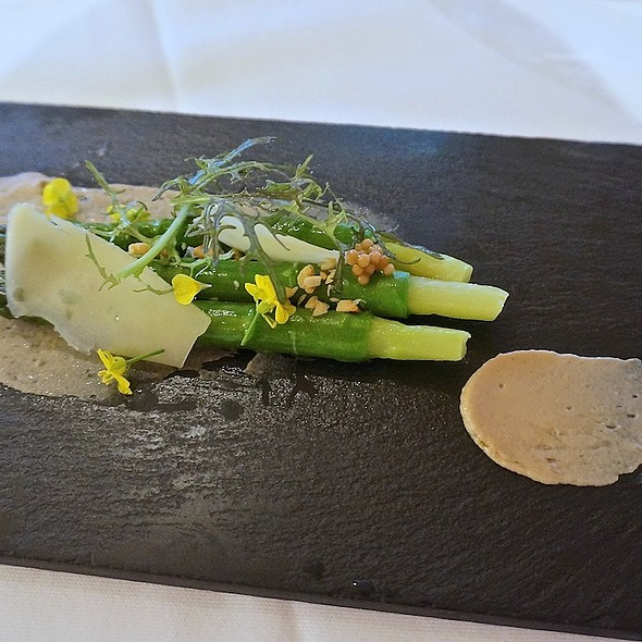 Ontario green asparagus salad, Comté cheese, hazelnut purée, pickled mustard seeds, mustard flowers, sherry vinaigrette - BOSK at Shangri-La Hotel Toronto, Toronto, ON