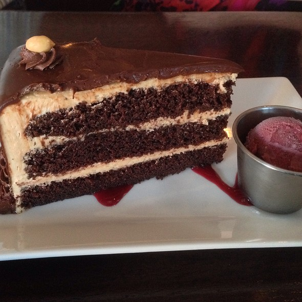 Peanut-Butter Chocolate Cake With Raspberry Sorbet - Blind Faith Cafe, Evanston, IL