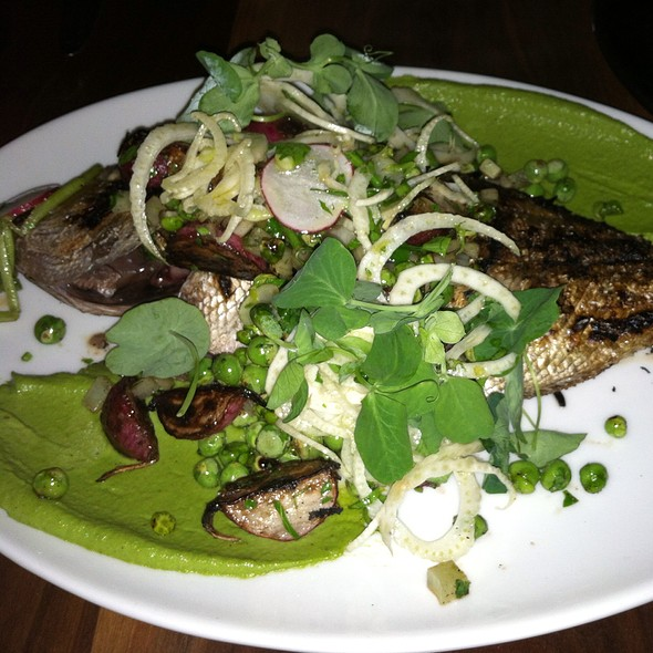 Whole Grilled Sea Bream, Peas, Radish, Fennel, Mint, Pistachio - Petruce Et Al, Philadelphia, PA