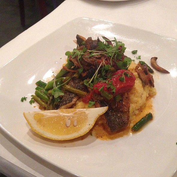 Trout With Arugula Salad And Corn Cheese Grits - Wine Country Bistro, Shreveport, LA