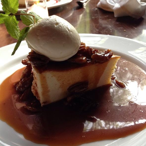 Bourbon Caramel Cheesecake- Mascarpone Cheesecake, Graham Cracker Crust, Bourbon Caramel Sauce, Roasted Pecans - Gabriele's Italian Steakhouse, Greenwich, CT