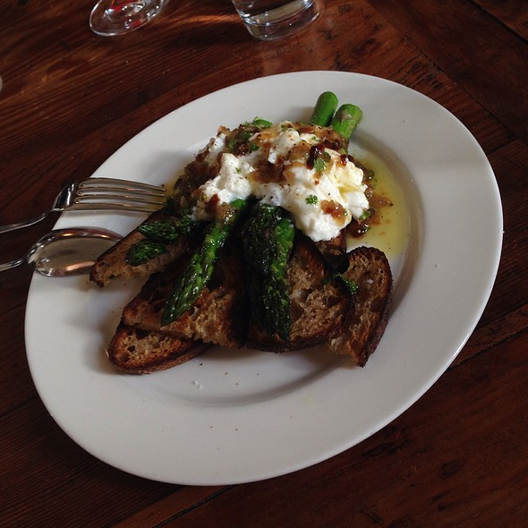 Burrata, Roasted Asparagus, Shallot Vinaigrette - Heirloom Cafe, San Francisco, CA