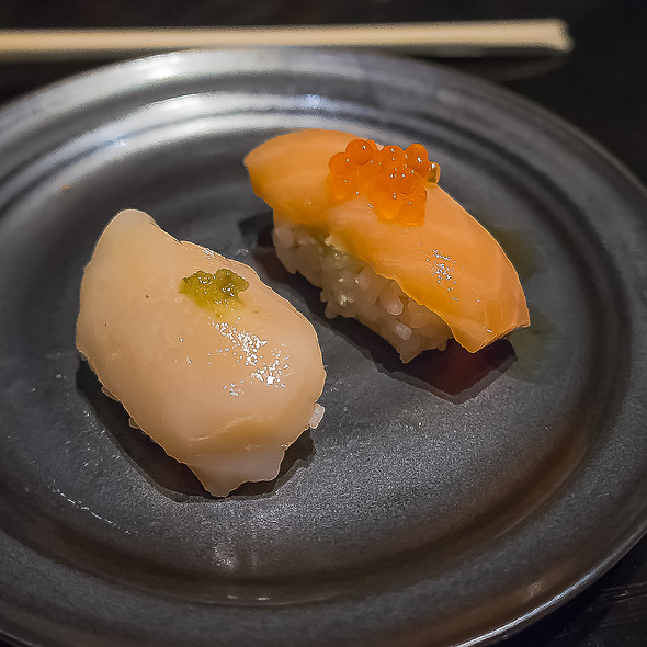 Scallop & Canadian Salmon Nigiri - Sushi Sasabune Hawaii, Honolulu, HI