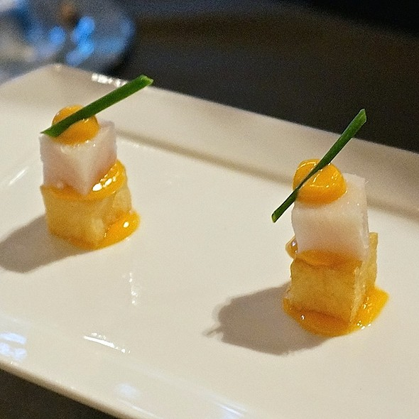 Amuse bouche – black cod, twice fried potatoes, piquillo aioli - La Toque – Westin Napa, Napa, CA