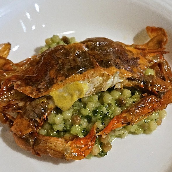 Chesapeake Bay soft shell crab with fregola sarda and pesto - La Toque – Westin Napa, Napa, CA