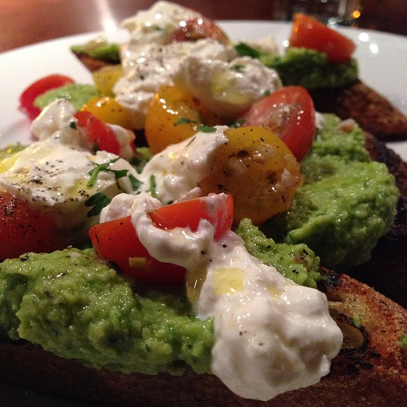 Grilled Bruschetta With Minted Fava & English Pea Spread, Burrata Cheese & Cherry Tomato Garnish - Crow, Seattle, WA