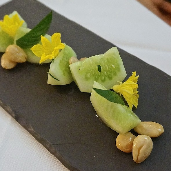 Lemon cucumber, chocolate mint, marcona almonds - FARM at Carneros, Napa, CA