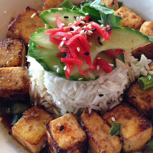 Sweet Spicy Marinated Tofu With Jasmine Rice And Pickled Cucumber - Jimmy's on Broadway, Seattle, WA