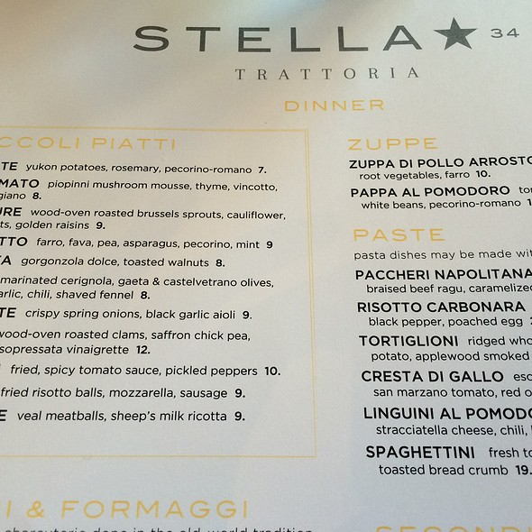 Menu - Stella 34 Trattoria, New York, NY