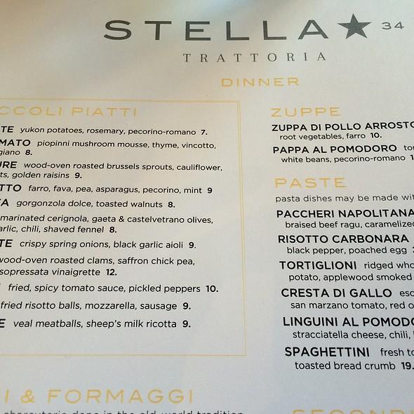 Menu - Stella 34 Trattoria, New York, NY