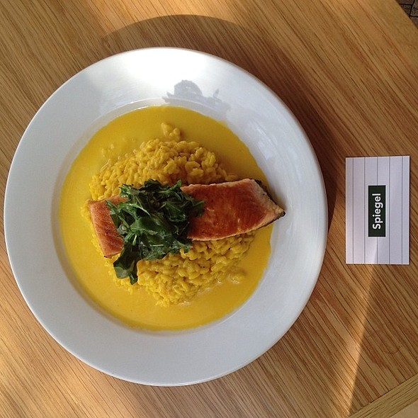 Pan seared salmon over saffron risotto - Spiegel, New York, NY