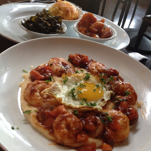 Charleston Shrimp And Grits With Side Orders Of Candied Yams, Collars Greens, And Mac & Cheese - Paschal's Restaurant, Atlanta, GA