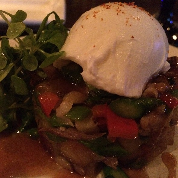 Duck Confit Hash With Poached Eggs - Eno Vino Wine Bar and Bistro, Madison, WI