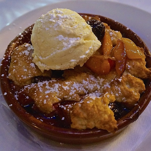 Plum, apricot, cherry cobbler with vanilla ice cream - Bistro Campagne, Chicago, IL