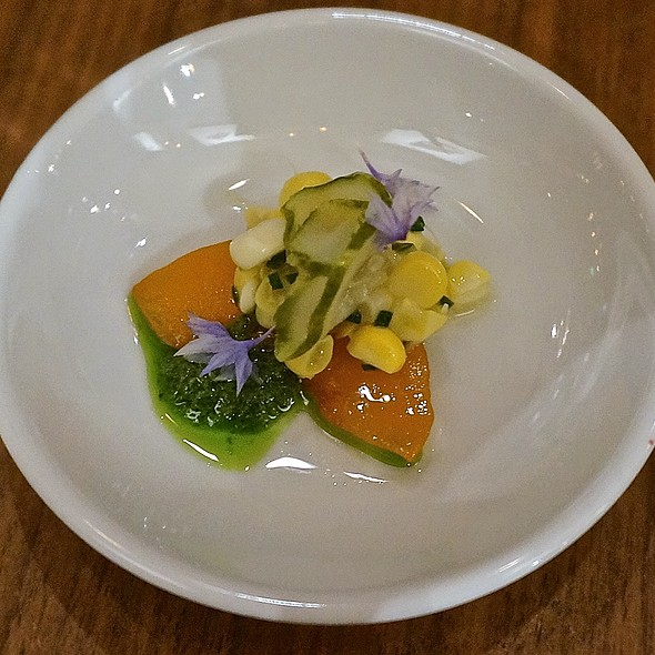 Amuse bouche – sweet corn salad, basil purée apricot, pickled cucumber - Natural Selection, Portland, OR