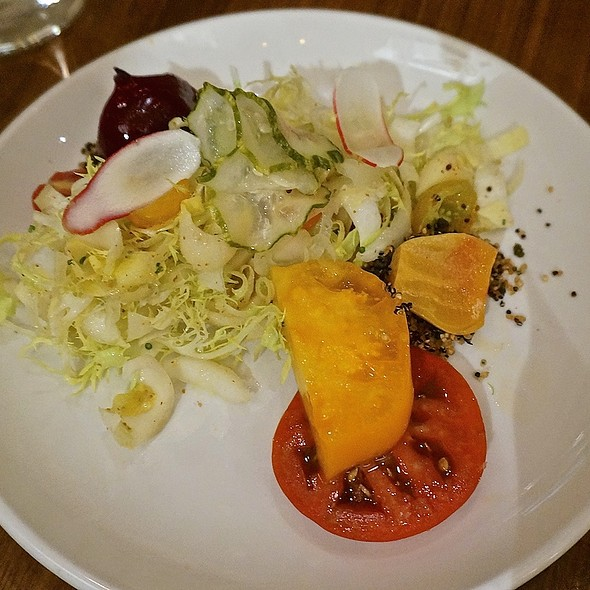 Tomato salad, roasted beets, endive and frisée, pickled cucumbers, grain mustard dressing - Natural Selection, Portland, OR