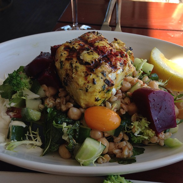 Swordfish Salad With Beets, Chickpeas And Broccoli - CRU Nantucket, Nantucket, MA