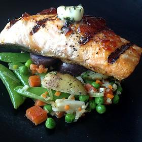 Grilled Birch Glazed Salmon - Bistro 67, Whitby, ON