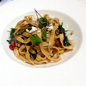 Handcrafted Tagliatelle Pasta, Marin Countyt Feta, Owven Dried Cherry Tomatoes, Organic Spinach, Porcini Cream Sauce - Nob Hill Club at the Mark Hopkins, San Francisco, CA