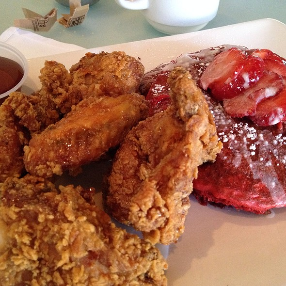 Red Velvet Pancakes With Southern Fried Chicken - Chocolat Restaurant & Bar, New York, NY