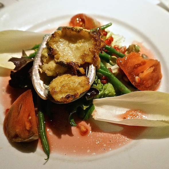 Farm-raised Monterey Bay red abalone, doré style, endive, tomatoes, green beans, pomegranate, spinach - Grasing's, Carmel, CA