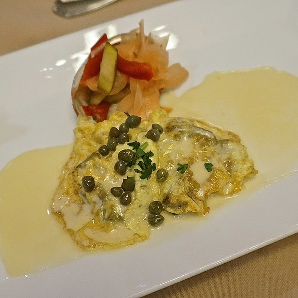 California red abalone, pickled ginger salad, capers, beurre blanc - Anton & Michel Restaurant, Carmel, CA