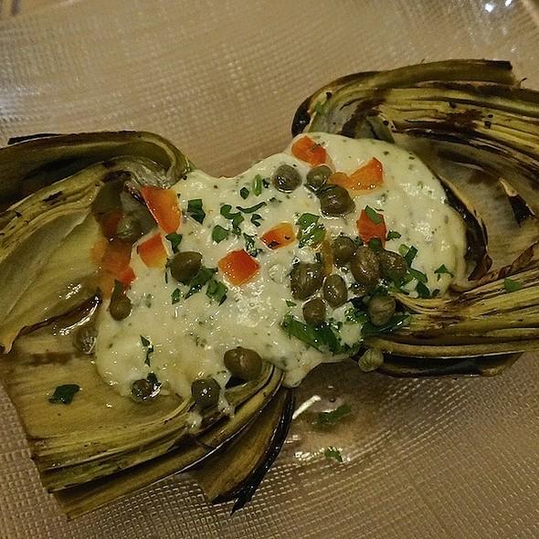 Grilled artichoke, capers, garlic-mint aioli - Anton & Michel Restaurant, Carmel, CA