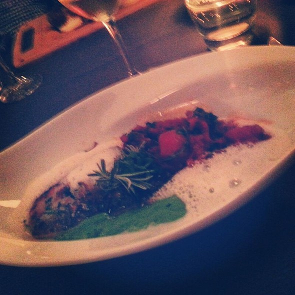 Grilled Arctic Char With Truffled Pea Puree And Tomato Marmelade - Restaurant in der Villa im Tal, Wiesbaden, HE