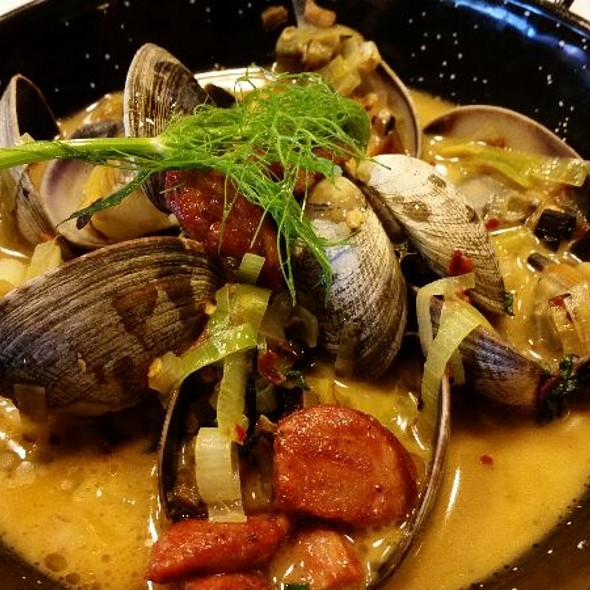 Peroni Steamed Clams in Pernod Broth with Red Chili, Garlic, and Fresh Basil - Flatbread Neapolitan Pizzeria - Boise, Boise, ID