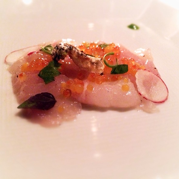 Black Seabass Sashimi With Trout Roe And Pearls Of Orange And Yuzu Juice - Annisa, New York, NY