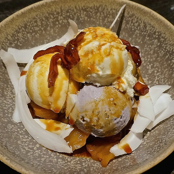 Ice cream sundae, coconut and ube ice cream, caramelized jackfruit, pineapple, shaved coconut - Embeya, Chicago, IL
