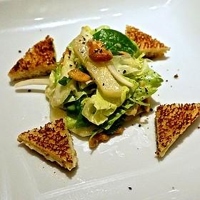 Fujisaki Asian pear salad, bleu d'Auvergne 'grilled cheese,' arugula, watercress, cashews, cider honey vinaigrette - Geronimo, Santa Fe, NM