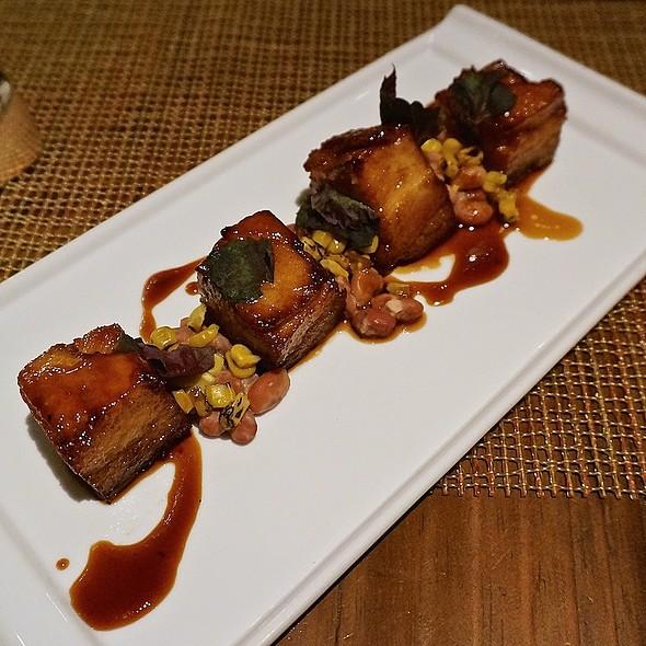 Berkshire pork belly, Anasazi bean ragout, corn kenrnels, harissa, sherry - Luminaria Restaurant & Patio, Santa Fe, NM