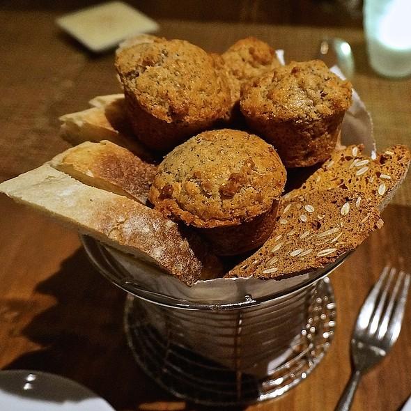 Bread service – sourdough, housemade blue corn cornbread; pumpkin seed, thyme, red chile biscott - Luminaria Restaurant & Patio, Santa Fe, NM