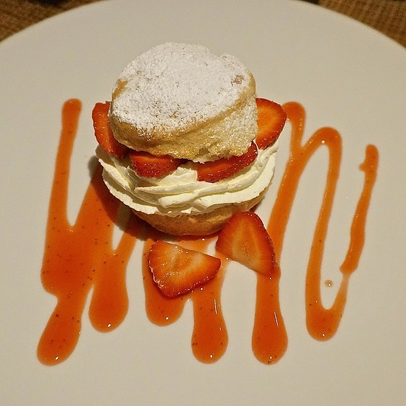 Strawberry shortcake, vanilla mascarpone cream, strawberry coulis - Luminaria Restaurant & Patio, Santa Fe, NM